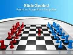 Chess Players Red Blue Challenge Leadership PowerPoint Templates Ppt Backgrounds For Slides 0113
