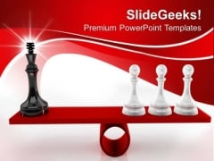 Chessmen On Scales Leadership PowerPoint Templates And PowerPoint Themes 0712