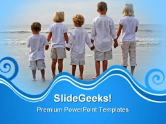 Children Holding Hands Beach PowerPoint Themes And PowerPoint Slides 0511