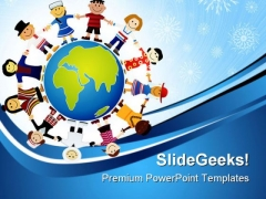 Children Of The World Globe PowerPoint Templates And PowerPoint Backgrounds 0311