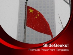 Chinese Flag With Snow Background PowerPoint Templates Ppt Backgrounds For Slides 0413