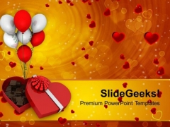 Chocolate Box Heart Shape Balloons Festival PowerPoint Templates Ppt Backgrounds For Slides 0213