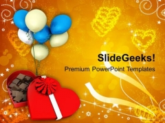 Chocolate Box With Balloons Festival PowerPoint Templates Ppt Backgrounds For Slides 0213