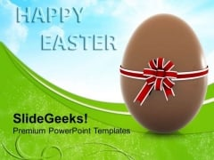 Chocolate Easter Egg With Bow Festival PowerPoint Templates Ppt Backgrounds For Slides 0313