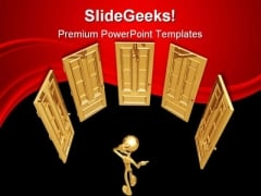 Choose A Door Business PowerPoint Templates And PowerPoint Backgrounds 0311