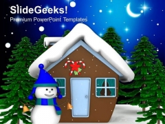 Christmas Background With Smiling Snowman PowerPoint Templates Ppt Backgrounds For Slides 1212