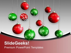 Christmas Balls Red And Green Hanging PowerPoint Templates Ppt Backgrounds For Slides 1212