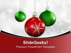 Christmas Baubles With Winter Snowflakes PowerPoint Templates Ppt Backgrounds For Slides 0113