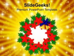 Christmas Bell Wreath Decorations PowerPoint Templates Ppt Backgrounds For Slides 1212