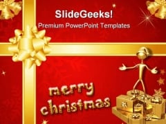 Christmas Bow Festival PowerPoint Templates And PowerPoint Backgrounds 0511
