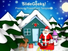 Christmas Celebrations With Santa PowerPoint Templates Ppt Backgrounds For Slides 1212