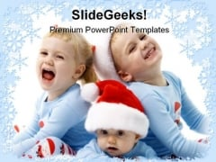 Christmas Children Holidays PowerPoint Template 1010