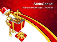 Christmas Gift Dollar Money PowerPoint Templates And PowerPoint Backgrounds 0711