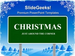 Christmas Highway Sign Festival PowerPoint Themes And PowerPoint Slides 0911