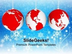 Christmas Ornaments With World Map Business PowerPoint Templates Ppt Backgrounds For Slides 1112
