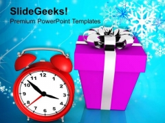 Christmas Present With Alarm Clock Event PowerPoint Templates Ppt Backgrounds For Slides 1112