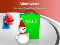 Christmas Sale Bags Winter Items Discount PowerPoint Templates Ppt Backgrounds For Slides 0113