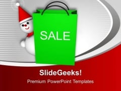 Christmas Sale Object Snowman With Bag PowerPoint Templates Ppt Backgrounds For Slides 0113