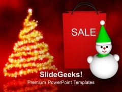 Christmas Sale Shopping Bag Snowman PowerPoint Templates Ppt Backgrounds For Slides 1212