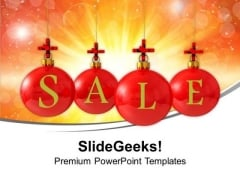 Christmas Sale Using Red Balls Cross Symbol PowerPoint Templates Ppt Backgrounds For Slides 1212