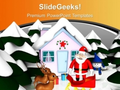 Christmas Scene With Pink Snowmen Hut Reindeer PowerPoint Templates Ppt Backgrounds For Slides 0113