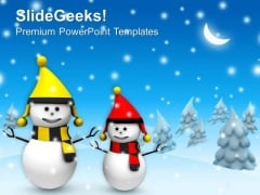 Christmas Theme With Snowman Winter Holidays PowerPoint Templates Ppt Backgrounds For Slides 1212
