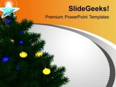 Christmas Tree Decoration Celebration Festival PowerPoint Templates Ppt Backgrounds For Slides 0113