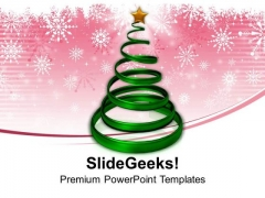 Christmas Tree In Spiral Form With Star PowerPoint Templates Ppt Backgrounds For Slides 1212