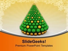 Christmas Tree Made Of Spheres Festival PowerPoint Templates Ppt Backgrounds For Slides 1112