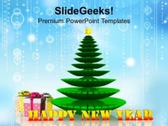 Christmas Tree New Year PowerPoint Template 1113