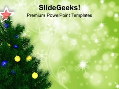 Christmas Tree On Green Shiny Background PowerPoint Templates Ppt Backgrounds For Slides 1212