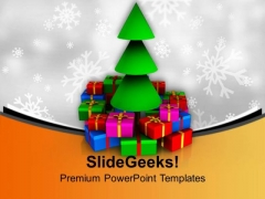 Christmas Tree With Colorful Gifts Celebration PowerPoint Templates Ppt Backgrounds For Slides 0113