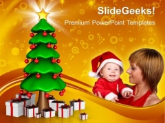 Christmas Tree With Gifts And New Year PowerPoint Templates And PowerPoint Themes 1012