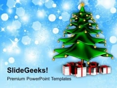 Christmas Tree With Gifts Winter Background PowerPoint Templates Ppt Backgrounds For Slides 1112