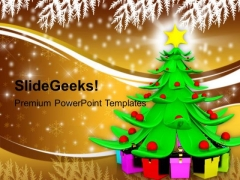 Christmas Tree With Heap Of Gifts Holidays PowerPoint Templates Ppt Backgrounds For Slides 1112