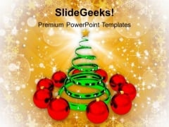 Christmas Tree With Red Baubles Events PowerPoint Templates Ppt Backgrounds For Slides 1112