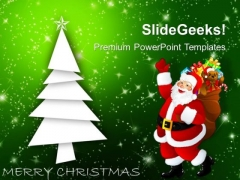 Christmas Tree With Santa Claus Holidays PowerPoint Templates Ppt Backgrounds For Slides 1112