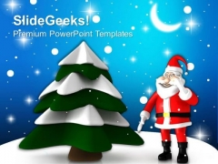 Christmas Tree With Santa Holidays PowerPoint Templates Ppt Backgrounds For Slides 1212