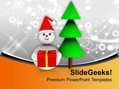 Christmas Tree With Snowman Celebration PowerPoint Templates Ppt Backgrounds For Slides 0113