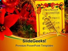 Christmas Trumpet Music PowerPoint Themes And PowerPoint Slides 0611