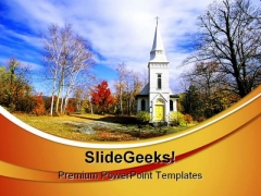Church In The Fall Nature PowerPoint Templates And PowerPoint Backgrounds 0511
