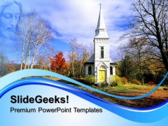 Church In The Fall Nature PowerPoint Templates And PowerPoint Themes 0712