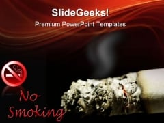 Cigarette No Smoking Health PowerPoint Themes And PowerPoint Slides 0511