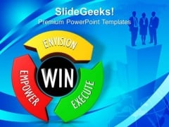 Circle Around With Envision Empower Execute PowerPoint Templates And PowerPoint Themes 0912