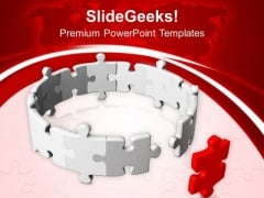 Circle Of Jigsaw Puzzle Partnership Leadership PowerPoint Templates Ppt Backgrounds For Slides 0313