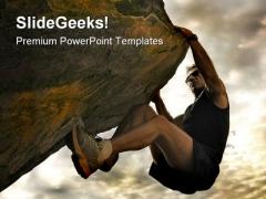 Climber Success PowerPoint Template 0610