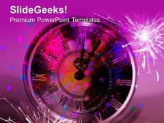 Clock Pointing The Arrival Of New Year PowerPoint Templates Ppt Backgrounds For Slides 0513
