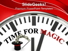 Clock Showing Words Time For Magic PowerPoint Templates Ppt Backgrounds For Slides 0213