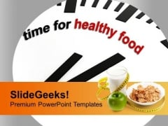 Clock To Represent Healthy Food Time PowerPoint Templates Ppt Backgrounds For Slides 0313