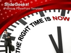 Clock With Right Time Is Now Business PowerPoint Templates Ppt Backgrounds For Slides 0213